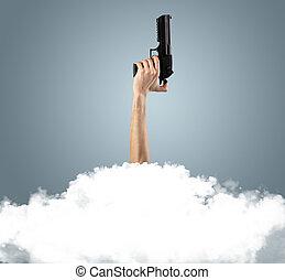 손, 매장되는, 으로, 구름