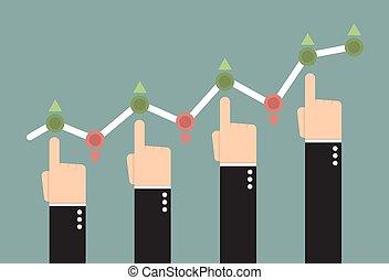 손, 미는 것, 그만큼, 사업, 그래프, 올라가고 있는.