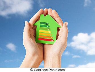 손, 보유, 녹색, 종이, 집