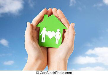 손, 보유, 녹색 집, 와, 가족, pictogram