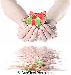 손, 보유, 선물, 와, 반사, 고립된, 백색 위에서