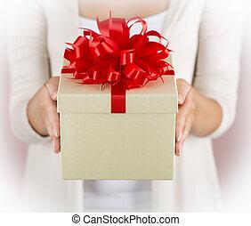 손, 보유, 아름다운, 선물 상자