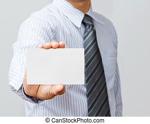 손, 보유 종이, 고립된, 백색 위에서