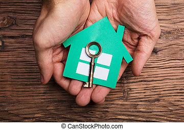 손, 보유 종이, 집, 와, 의회 key