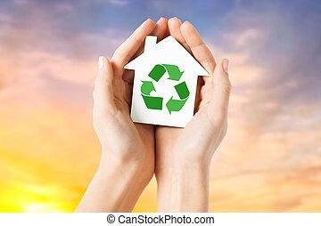 손, 보유, 집, 와, 녹색, 재활용, 표시