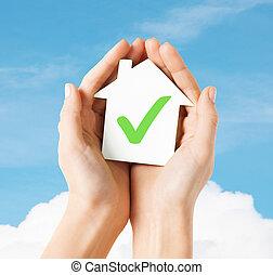 손, 보유, 집, 와, 대조 표시