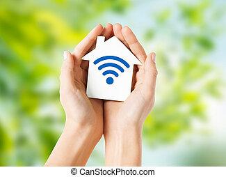 손, 보유, 집, 와, 라디오 주파, 신호, 아이콘