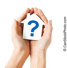 손, 보유, 집, 와, 물음표