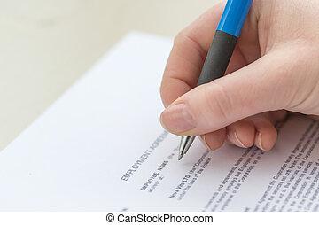 손, 서류 작성, 고용, 동의, 협정, 계약, 형태