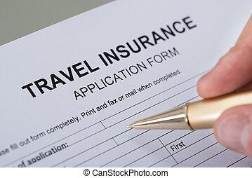 손, 서류 작성, 여행 보험, 형태