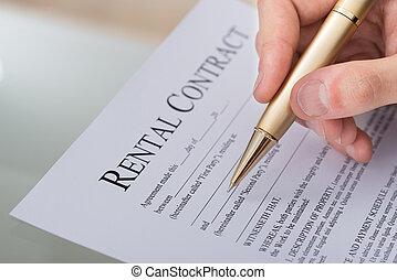 손, 서류 작성, 임대의, 계약, 형태