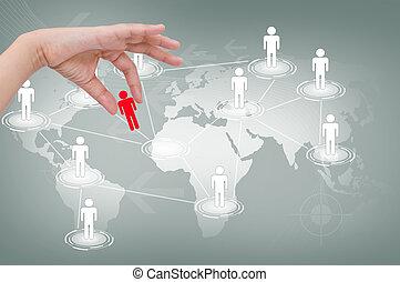 손, 선택, 빨강, 남자, 의, 친목회, 네트워크