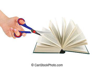 손, 와, 가위, 절단, 책
