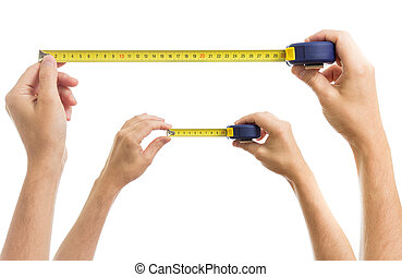 손, 와, 측정, 테이프, 세트, 고립된, 백색 위에서