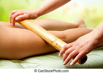 손, 완화, 여성, 다리, 와, bamboo.