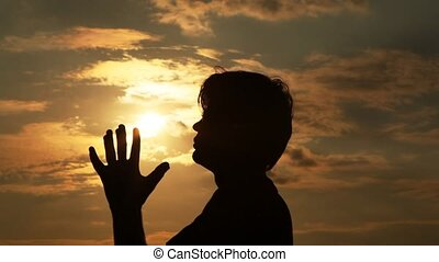 손, 은 기도한다, 태양, 남자, it., spends
