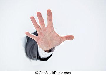 손, 의, a, 실업가, 전시, 중지 몸짓