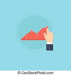 손 조준, 그만큼, 첨단, 의, 사업, 그래프, 손, 미는 것, 그만큼, 사업, 그래프, 위로의, 성장하는, 사업, 포위하다, 그래프, 삽화