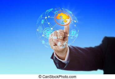 손, 활성화, 구름, 아이콘, 에서, 세계적 통신망