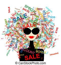 쇼핑하고 있는 여성, 개념, 디자인, 사랑, 유행, 너의, sale!