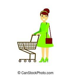 쇼핑하고 있는 여성, 다채로운, 성격, 삽화, 벡터, 손수레, 미소, 빈 광주리