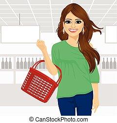 쇼핑하고 있는 여성, 슈퍼마켓, 보유, 바구니, 미소, 빈 광주리