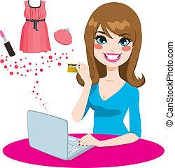 쇼핑하고 있는 여성, 온라인의