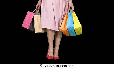 쇼핑하고 있는 여성, 은 자루에 넣는다, 다채로운, 나이 적은 편의, 나름, 알파, 다리, 수로