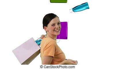 쇼핑하고 있는 여성, 2, 행복하다