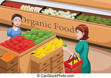 쇼핑하고 있는 음식, 유기체의, 사람