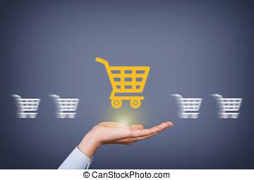 쇼핑, 개념, 통하고 있는, 인간 손