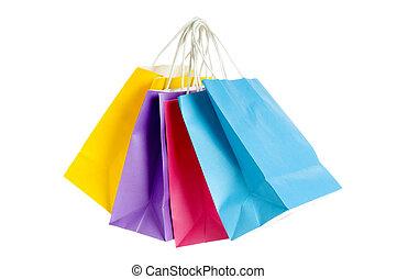 쇼핑 백, 고립된, 통하고 있는, 그만큼, 백색 배경