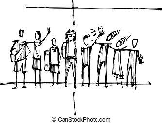 수도자, 기독교도, 십자가, 와, 젊은이, 실루엣