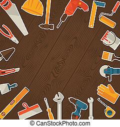 수선, 와..., 해석, 삽화, 와, 일, 도구, icons.