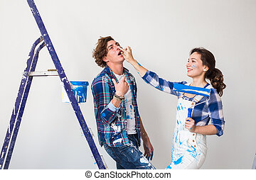 수선, 혁신, 개념, 사람, 그림, 한 쌍, 결혼한, -, 나이 적은 편의, 그들, 벽, 새로운, home.