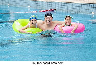 수영 풀, 가족, 행복하다