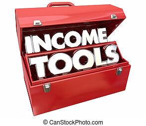 수입, 도구, 벌다, 좀더의, 돈, 연장통, 3차원, 삽화