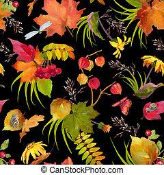 수채화 물감, 가을, 패턴