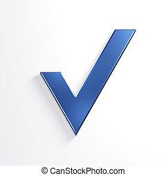 수표, mark., 3차원, 파랑, render, 삽화