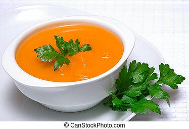 수프, 백색, 사발, 파슬리, 호박
