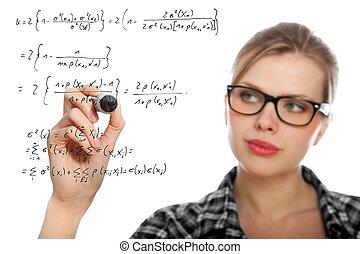 수학상의, 그림, 학생, 공식, 블론드, 소녀