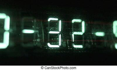 수, 디지털 표시 장치, 만든, 에서, 자형의 것, 이른다, 시계, 계산대
