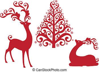 순록, 와, 크리스마스 나무, vecto
