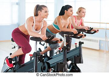 순환, 통하고 있는, 운동, bikes., 2, 인력이 있는, 어린 여성, 에서, 스포츠 옷, 운동시키는 것, 통하고 있는, 체조, bicycles