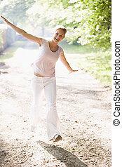숲, 여자, 좁은 길, 여성, 공원, 걷기, 여자