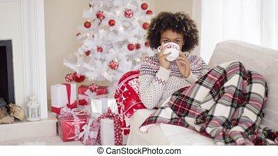 스웨터, 여자, 한 번에 까는 알, 만족하게되는, 소파