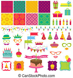 스크랩북, 디자인 성분, -, 생일 축하합니다, 와..., 파티, 세트, -, 에서, 벡터