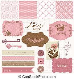 스크랩북, 디자인 성분, -, 포도 수확, 사랑, 세트