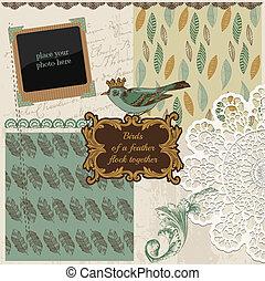 스크랩북, 디자인 성분, -, 포도 수확, 새, 깃, -, 에서, 벡터