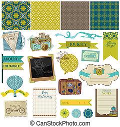 스크랩북, 디자인 성분, -, 포도 수확, 여행, set-, 에서, 벡터